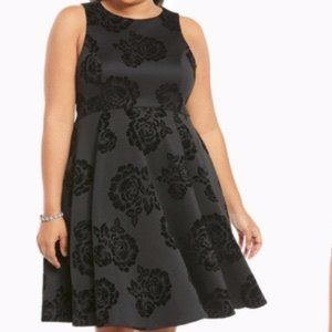 Torrid Scuba Floral Flocked LBD Black Holiday